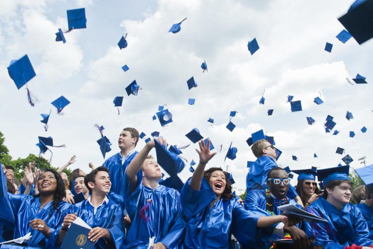 Graduates celebrating becoming Mather Alumni!